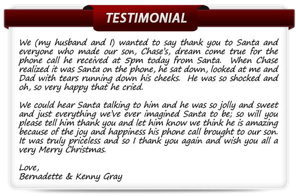 Santa's Testimonials